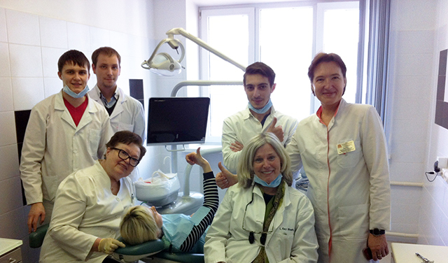 Dr. Kay Mash, bottom right, during one of her annual trips to the Moscow Medical Academy's dental school