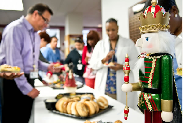 TAMBCD students, faculty and staff get refreshments during Dean's Holiday Coffee Break 2011