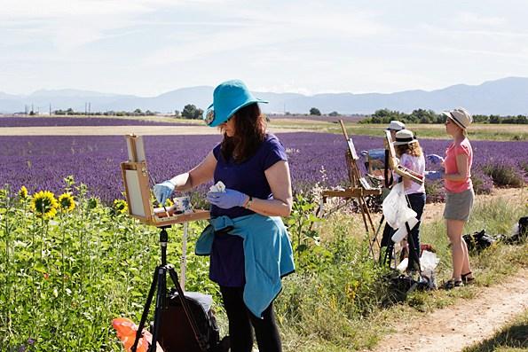 Dr. Ann McCann, left, painting during lavender season in Provence, France
