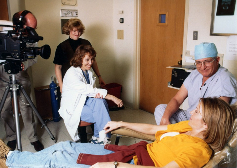 Schow is shown here, with Cagle, in April 1997 being interviewed by Dr. Linda Niessen for the college's Dental Health Check, then a nationally syndicated TV news report.