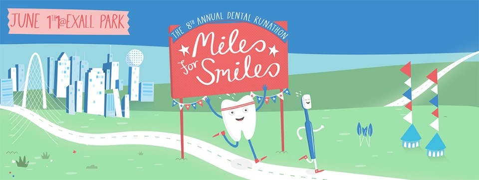 Miles for Smiles Runathon illustration depicting a tooth and toothbrush crossing a finish line.