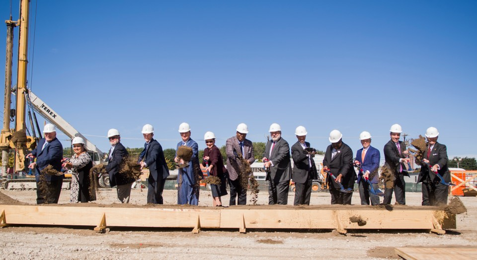 Texas A&M University and state officials turn dirt during the dedication ceremony, which was at the construction site of the new building, located between 3110 and 3210 Nussbaumer Street.