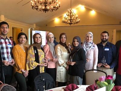 L to R: D3 Twain Henry; D3 Husnain Shahid, D2 Salma Haneef; D4 Deanna Ayyash; D4 Duaa Omar; Clinical Assistant Professor Dr. Amal Noureldin; D4 Jawairia Waheed; D3 Lina El-Kashef; D4 Zaki Razvi; and D3 Amjad Saleh.