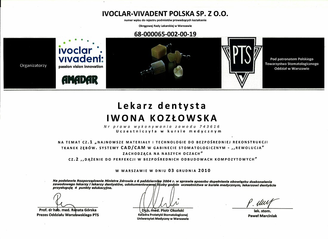 dentysta warszawa DENTYSTA WARSZAWA – DENTOKLINIKA Dentysta warszawa Iwona Kozlowska Certyfikat 2