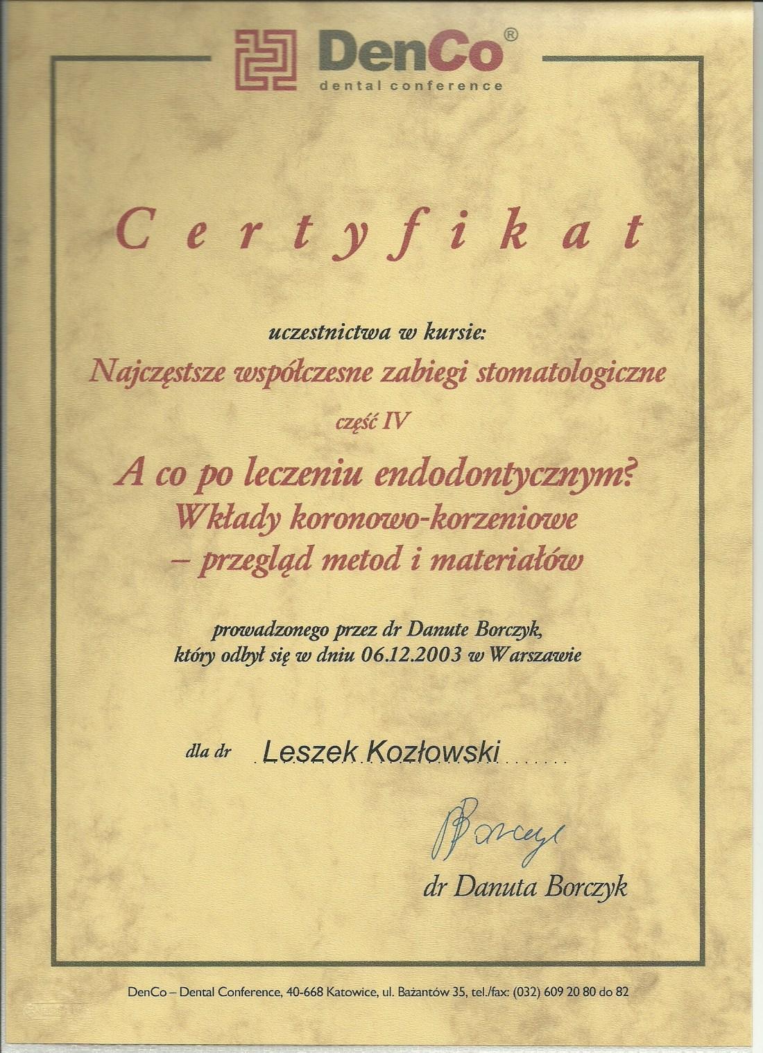 dentysta warszawa DENTYSTA WARSZAWA – DENTOKLINIKA Dentysta warszawa Leszek Kozlowski Certyfikat 19