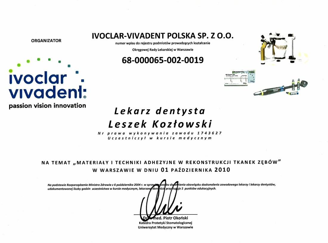 dentysta warszawa DENTYSTA WARSZAWA – DENTOKLINIKA Dentysta warszawa Leszek Kozlowski Certyfikat 25