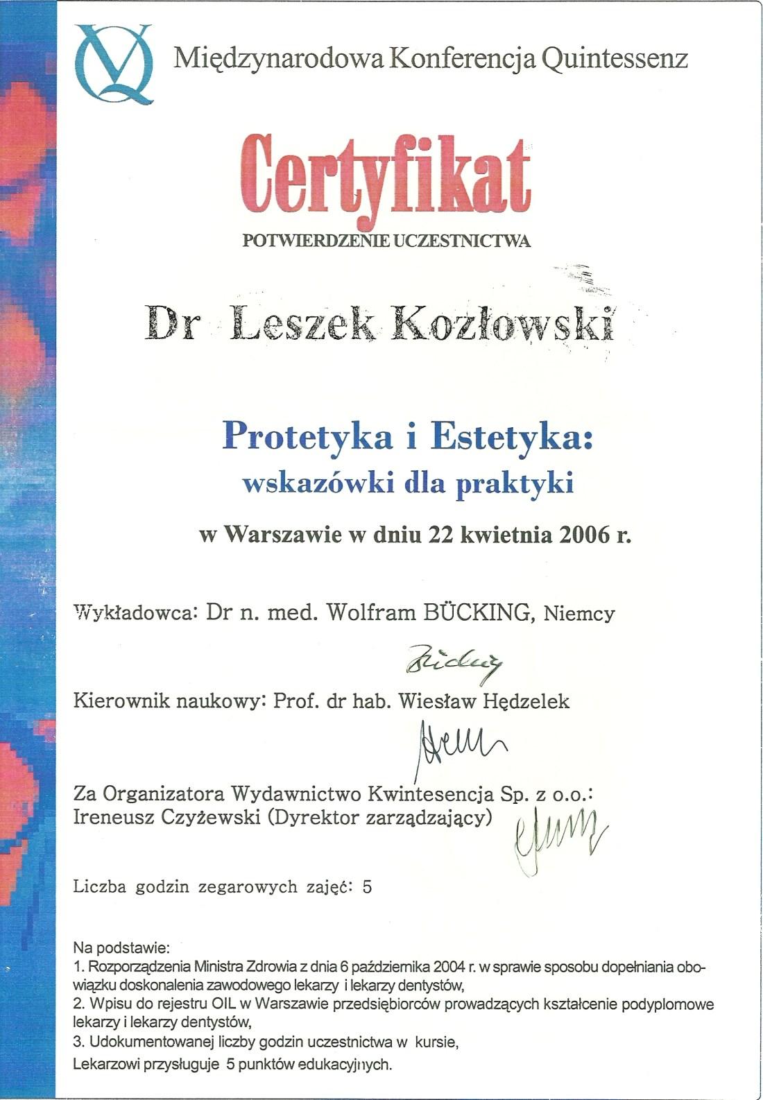 dentysta warszawa DENTYSTA WARSZAWA – DENTOKLINIKA Dentysta warszawa Leszek Kozlowski Certyfikat 4