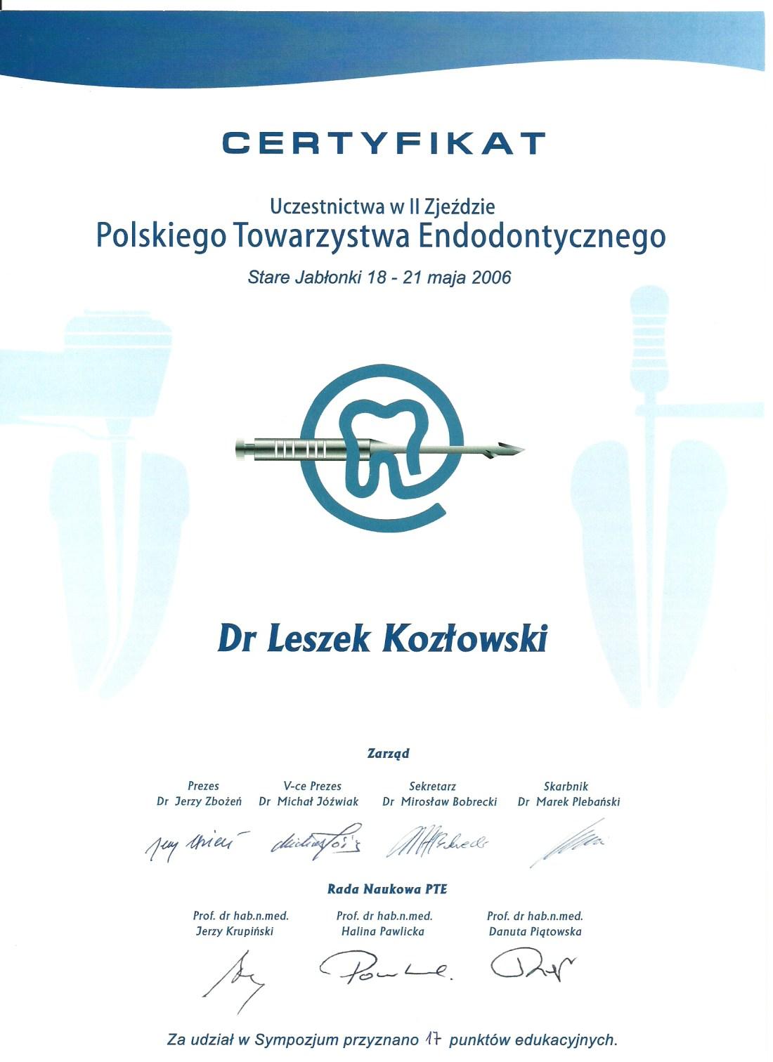 dentysta warszawa DENTYSTA WARSZAWA – DENTOKLINIKA Dentysta warszawa Leszek Kozlowski Certyfikat 5