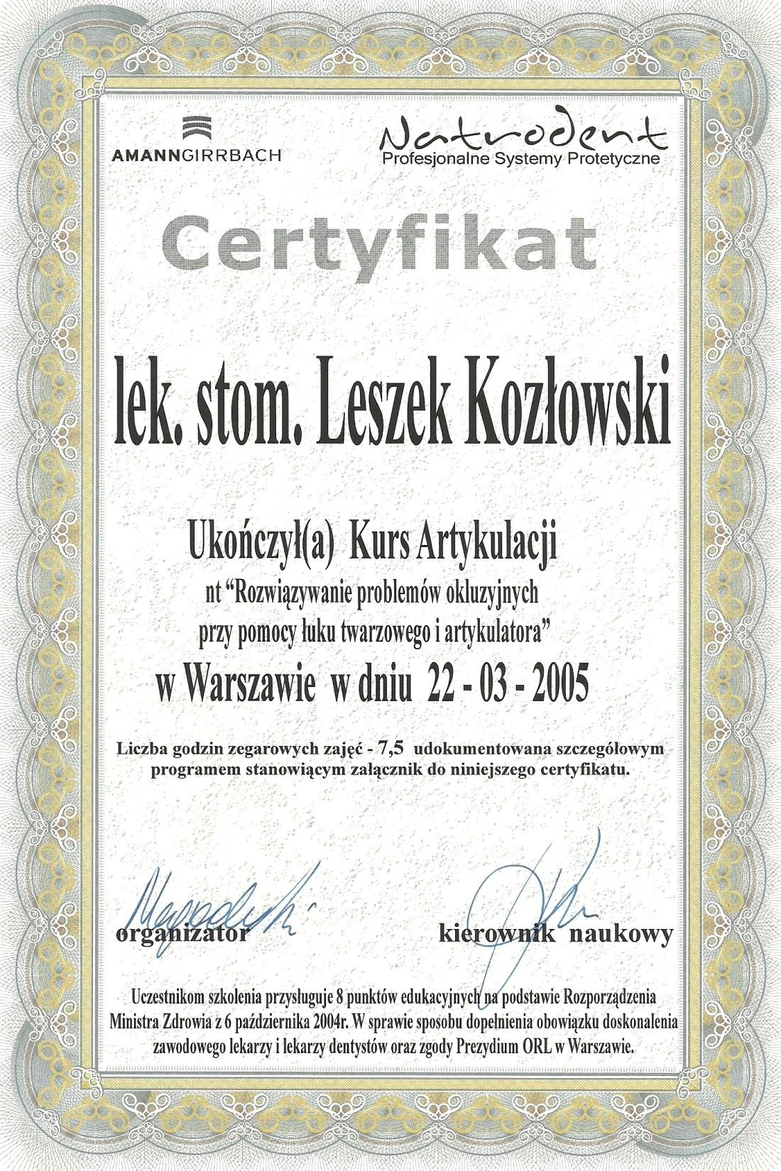 dentysta warszawa DENTYSTA WARSZAWA – DENTOKLINIKA Dentysta warszawa Leszek Kozlowski Certyfikat 8