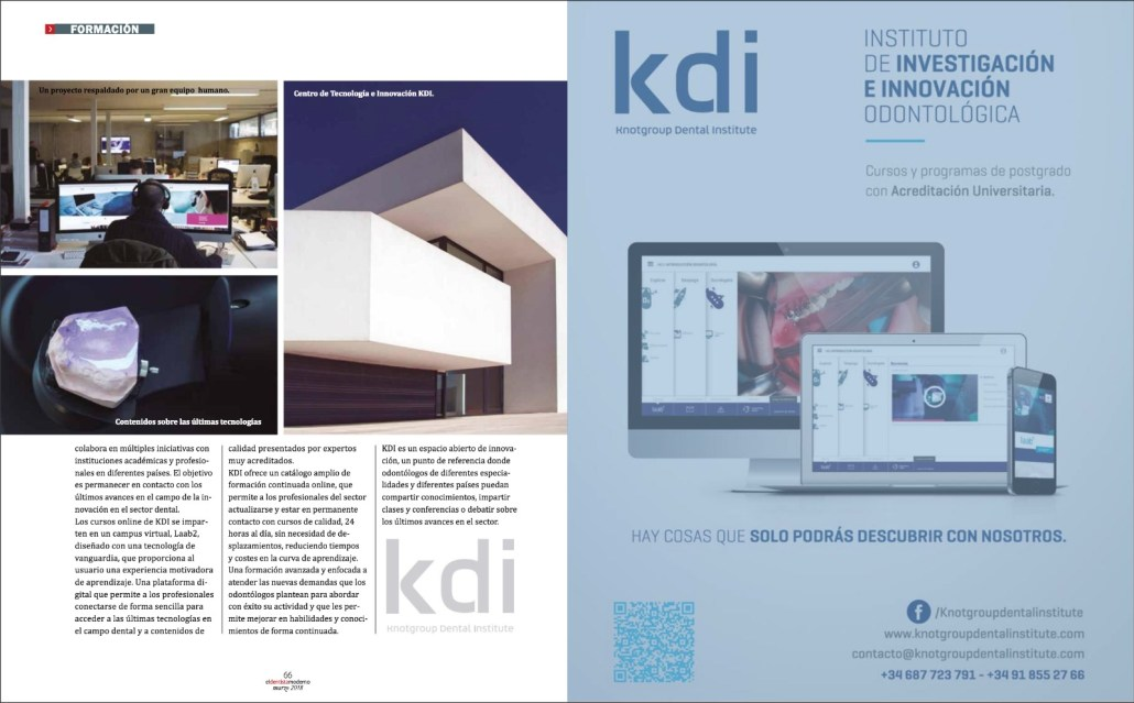Revista eldentistamoderno. Artículo KDI, Knotgroup Dental Institute, página interior