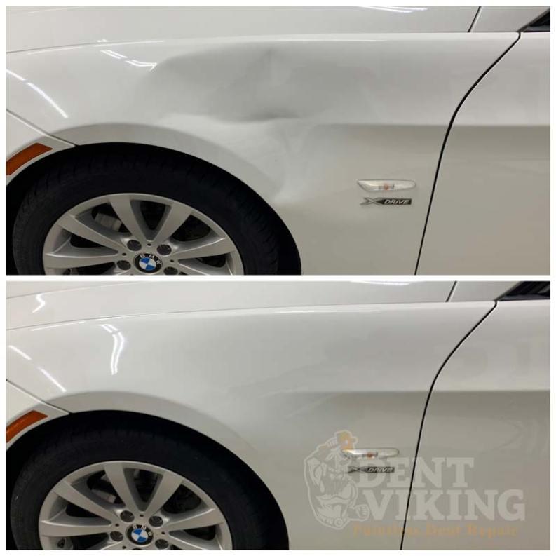 Paintless Dent Repair on BMW 328i Fender Smash in Spokane