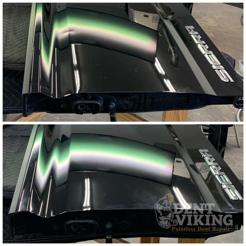 Paintless Dent Repair on GMC Sierra Tailgate Crease in Liberty Lake
