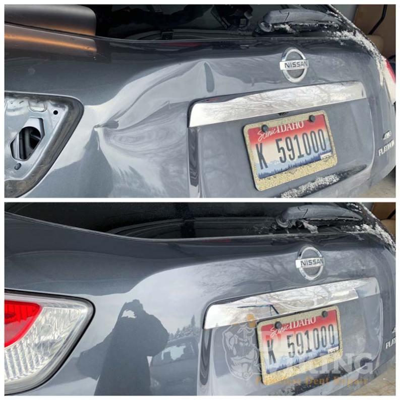 Paintless Dent Repair on Nissan Pathfinder Hatch in Coeur dAlene