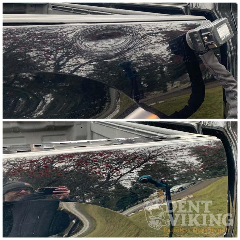Paintless Dent Repair on Toyota Tundra Bedside Crease in Hayden
