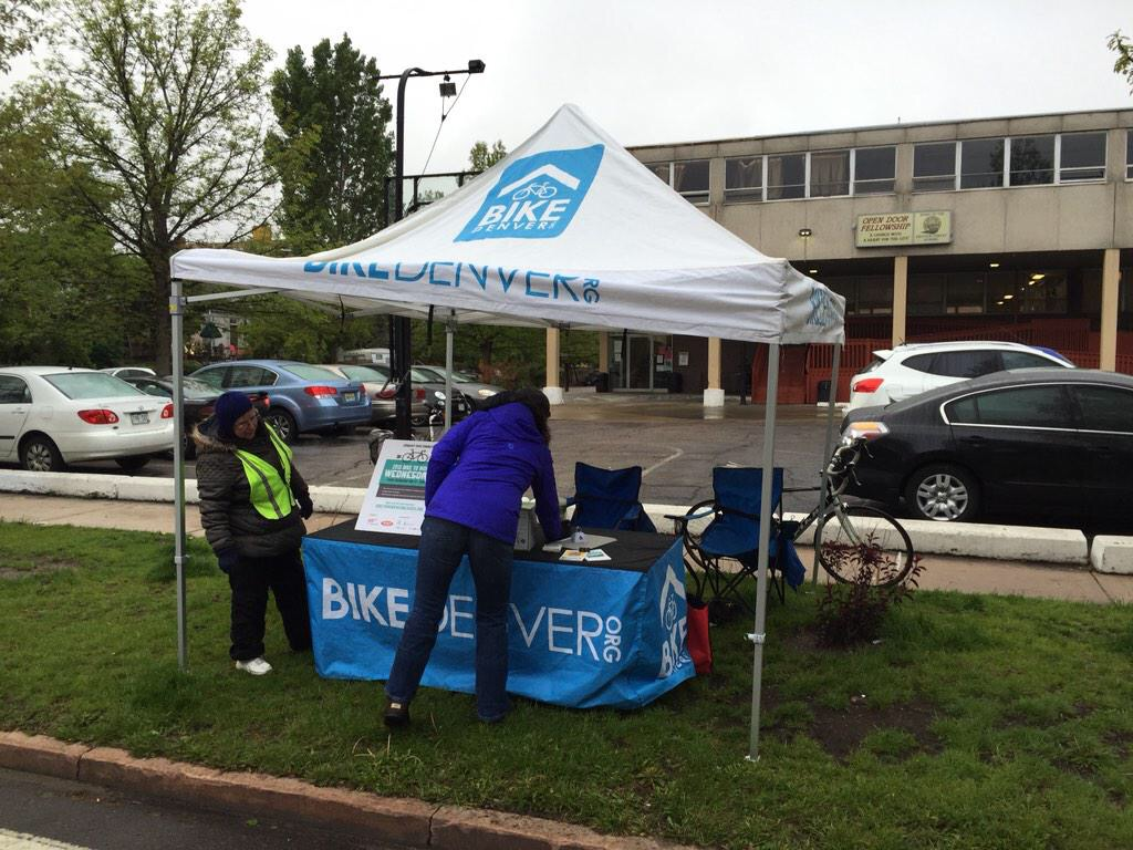 Last Wednesday BikeDenver set up a breakfast stand at 16th and Marion on a cold and wet Wednesday morning.  The bicycle advocacy group hopes it can incentivize people to make bike commuting an every day event.