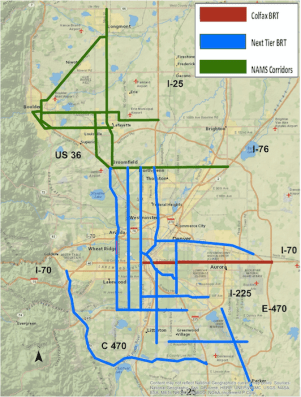 What a future BRT network might look like in and around Denver. Image: SWEEP
