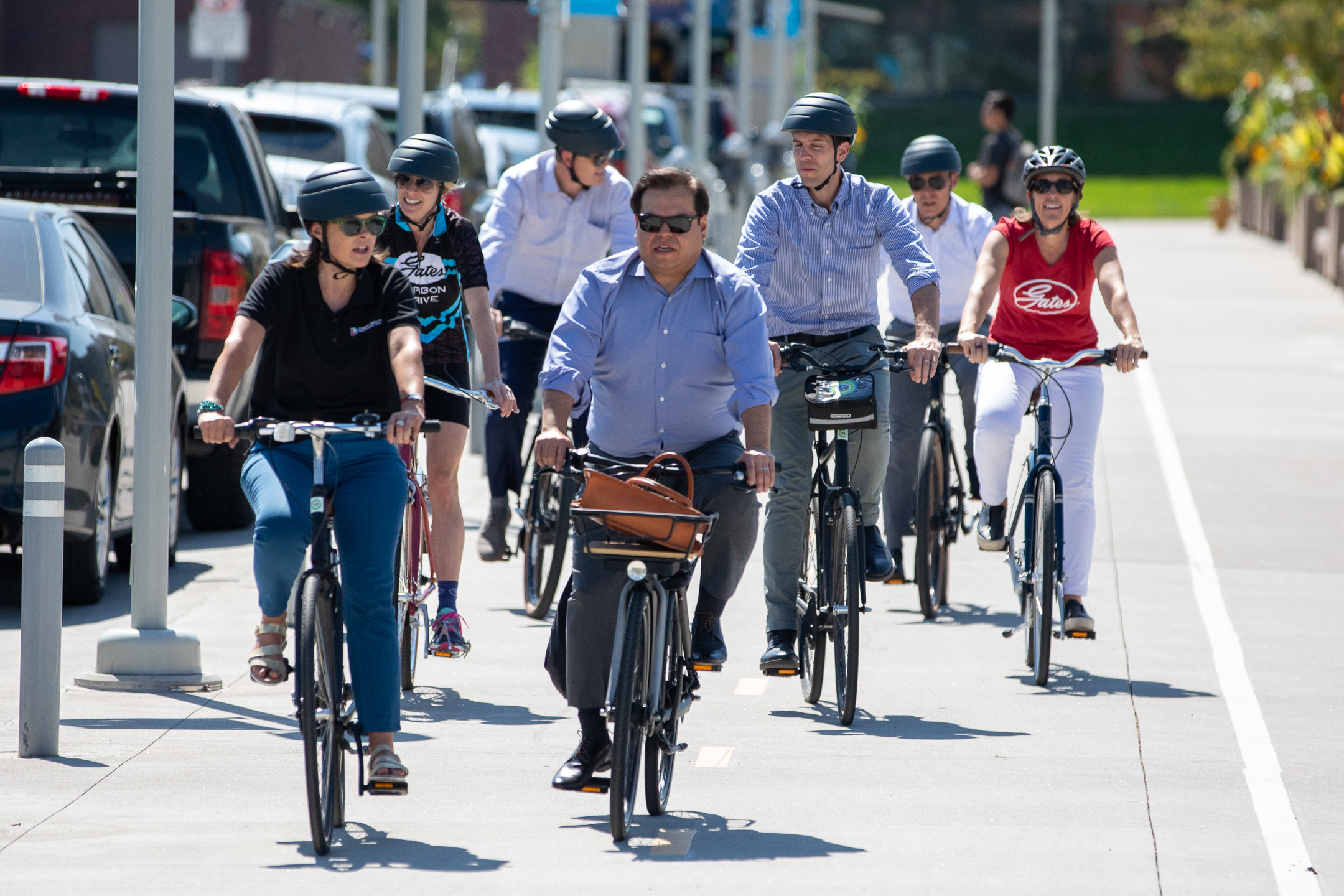 A group of officials ride along the 5.28 mile route that the 5280 Traill will follow following the press conference yesterday. Photo: Andy Bosselman