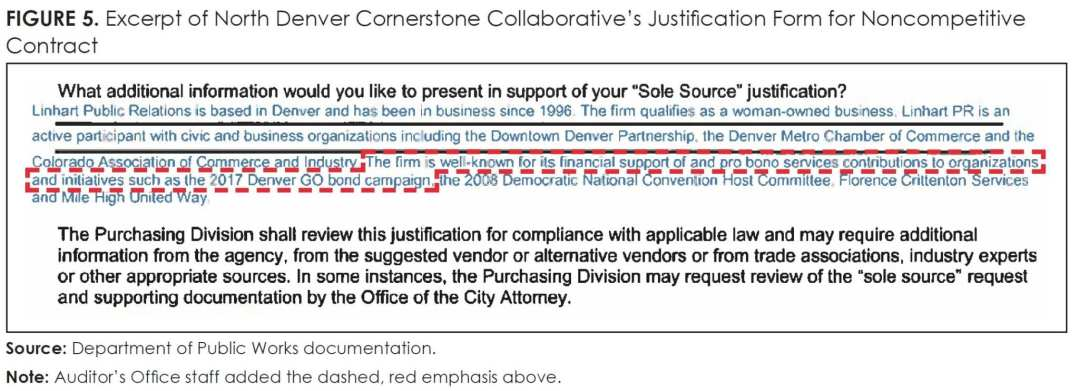 Figure 5_Excerpt of North Denver Cornerstone Collaborative's Justification for Noncompetitive Contract