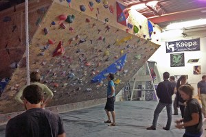 Scoping out the 45 degree indoor climbing wall at the Denver Bouldering Club