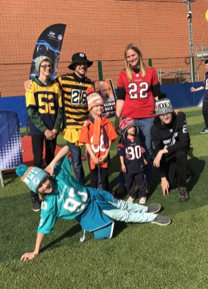 Charlie Barker with his NFL loving family, including a Bronco! Sunday's must be difficult!