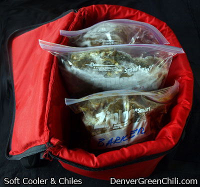 Put Frozen Chiles in a Soft Cooler to Transport