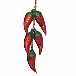 5 Glass Chili Pepper Ornaments