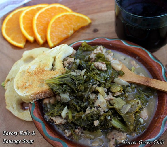 Savory Kale & Sausage Soup is an easy, packed with nutrients, and very satisfying. It can be a whole meal by itself.
