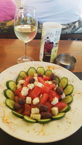 Greek salad, tomatoes , feta cheese, cucumbers and olives