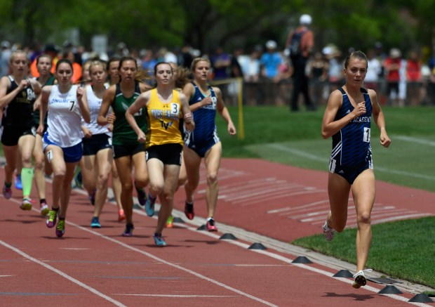 Air Academy senior Katie Rainsberger runs during the 4x800 meter relay at the 2016 state meet.