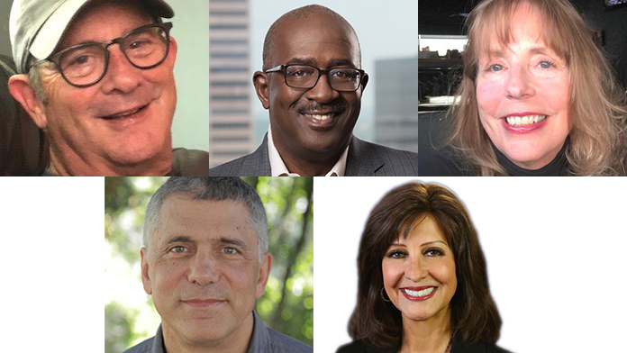 The inductees, from top left: Jerry Bell, managing editor of KOA News Radio; Greg Moore, former editor of The Denver Post; Janet Reeves, former director of photo for the Rocky Mountain News; John Temple, former editor of the Rocky Mountain News; Anne Trujillo, anchor for Denver7.