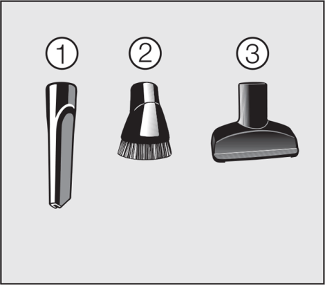 Miele S8 Accessories: Crevice nozzle, Dust brush with natural bristles, Upholstery tool