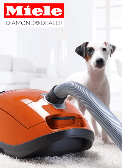 Miele Diamond Dealer logo & Miele canister vacuum