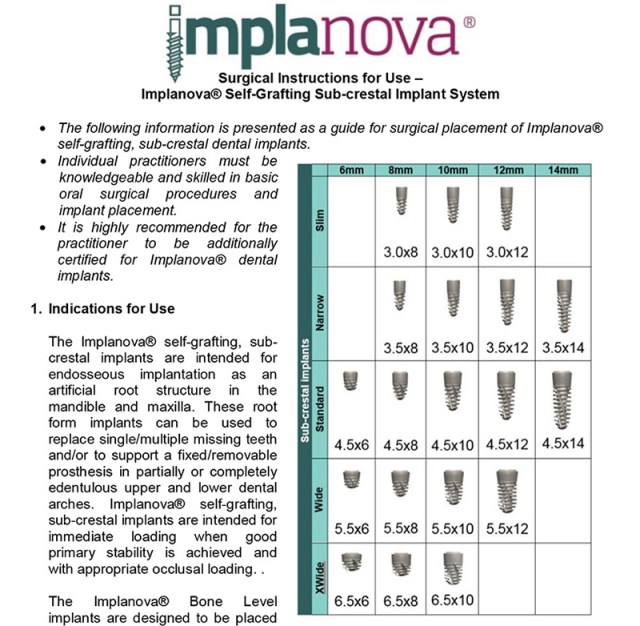 Implanova Instructions for Use