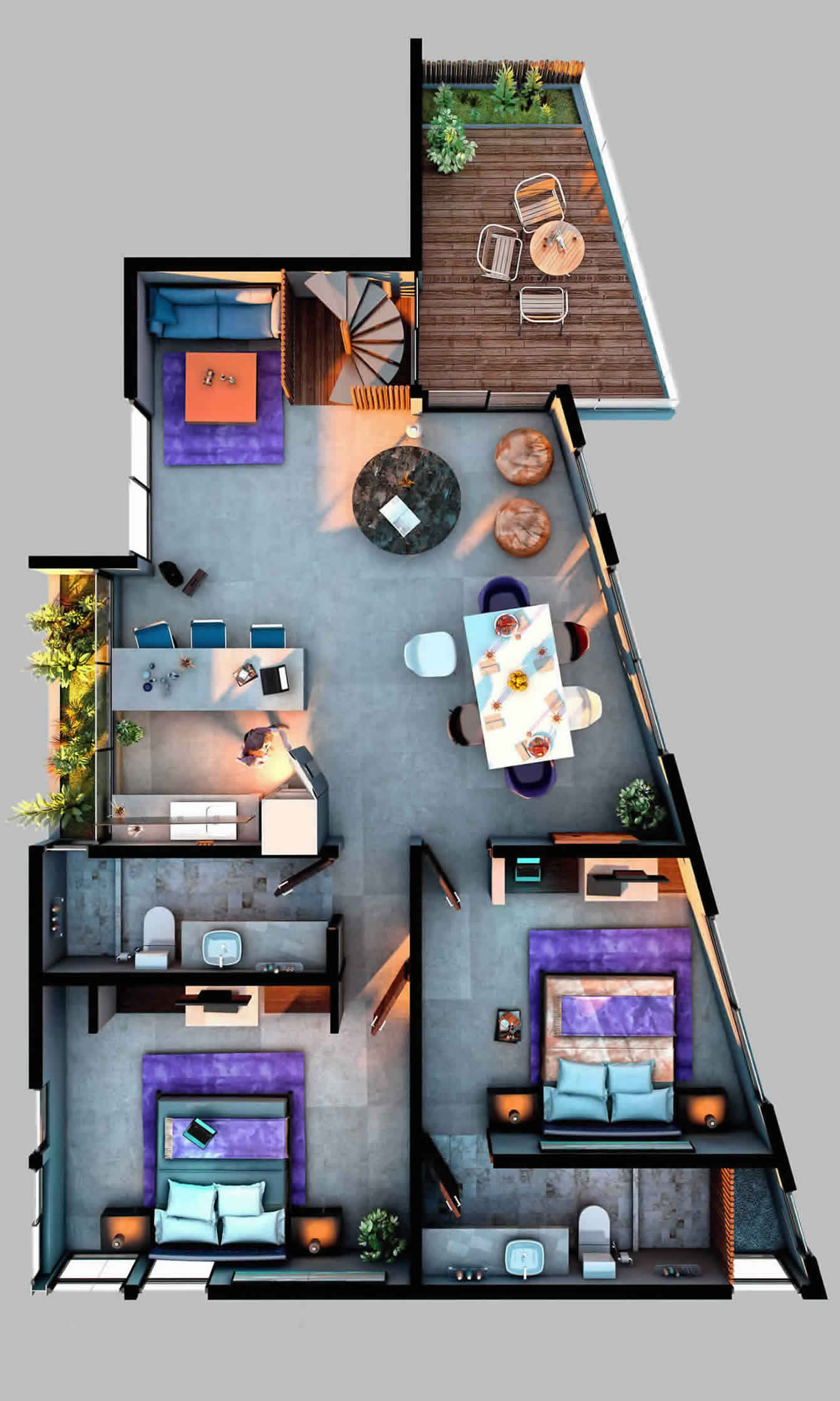 3 Bedrooms Penthouse