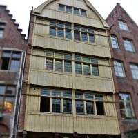 old wooden house facade in Ghent