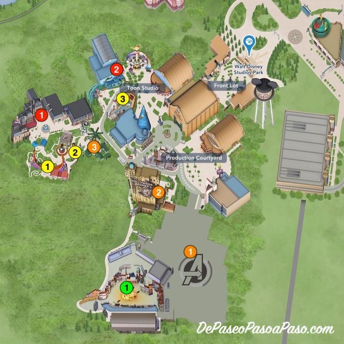 mapa Walt Disney Studios Park