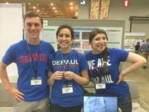 Members of DePaul's P3 team show their university pride at the Expo.