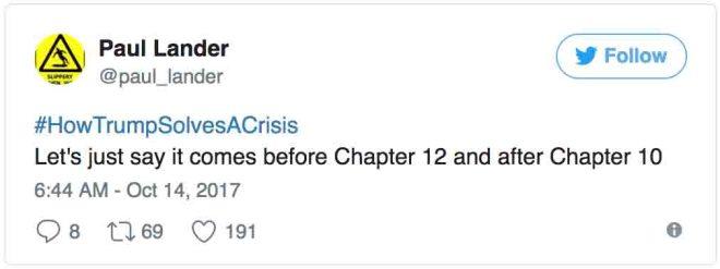 #HowTrumpSolvesACrisis
