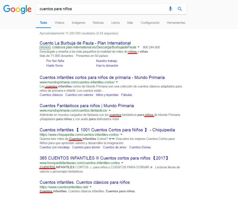 ejemplo de búsquedas con Google