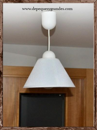 lámpara de techo reciclada terminada