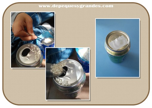 relleno de latas con arroz