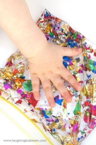 bolsa sensorial con aceite y brillantina