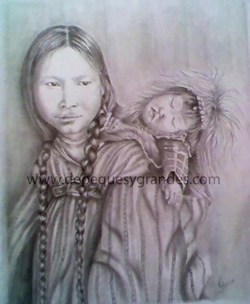 India con su bebé a lápiz