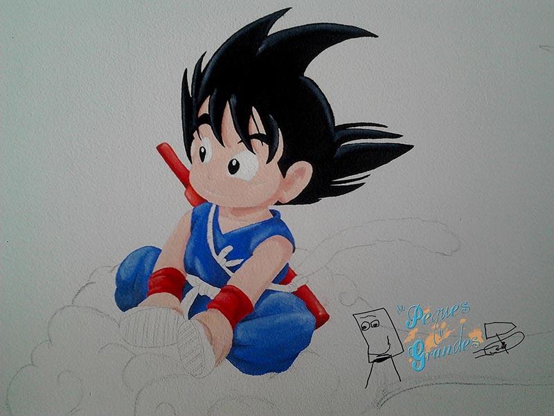 Goku pequeño en su nube inicio del color