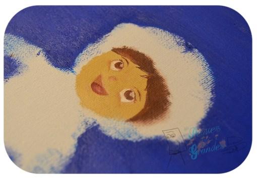 cara del astronauta pintada con óleo