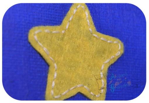 detalle estrella fieltro pegada a lienzo