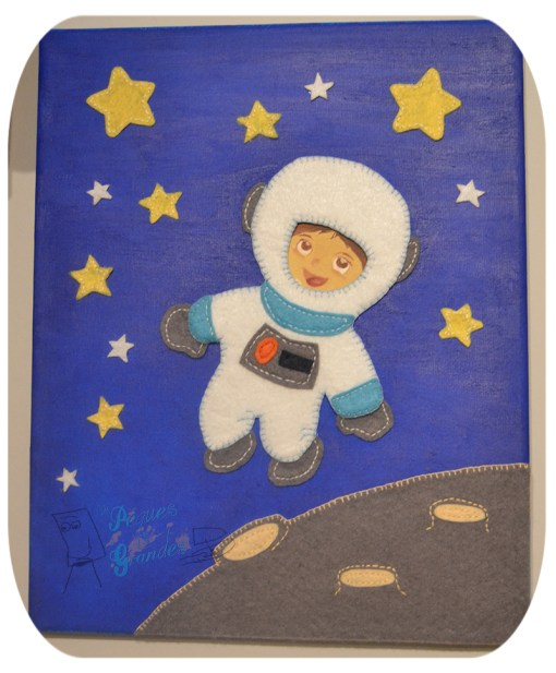 cuadro infantil de astronauta terminado
