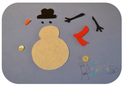 partes del muñeco de nieve en fieltro