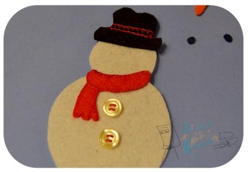 partes del muñeco de nieve cosidas