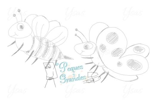 boceto de abeja y mariposa